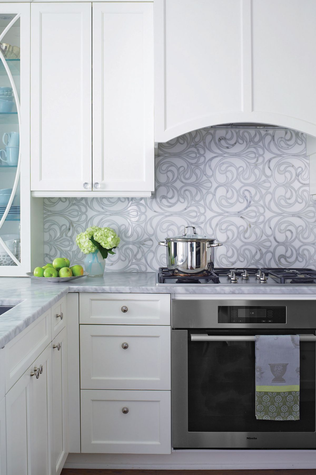This Kitchen Features Rutt Handcrafted Cabinetry In A Custom White Paint  With True Mullion Glass Front