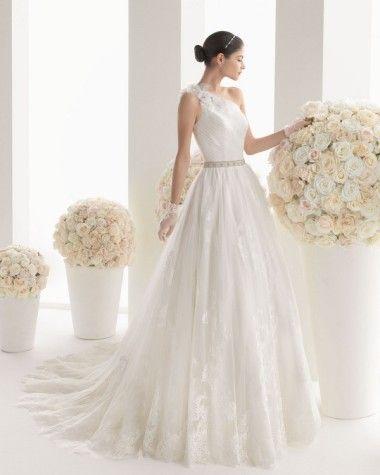 Rosa Clara Two Maika   Wedding Dress Trend 2014 - One Shoulder Gowns - Wedding Blog   Ireland's top wedding blog with real weddings, wedding dresses, advice, weddi...