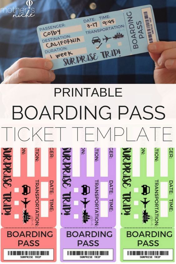 Printable Tickets Template Boarding Passes for Surprise Vacation - free printable tickets template