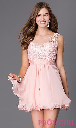 03aa6b429b87 Short Sleeveless Homecoming Dress 6049 with Lace Bodice at PromGirl.com
