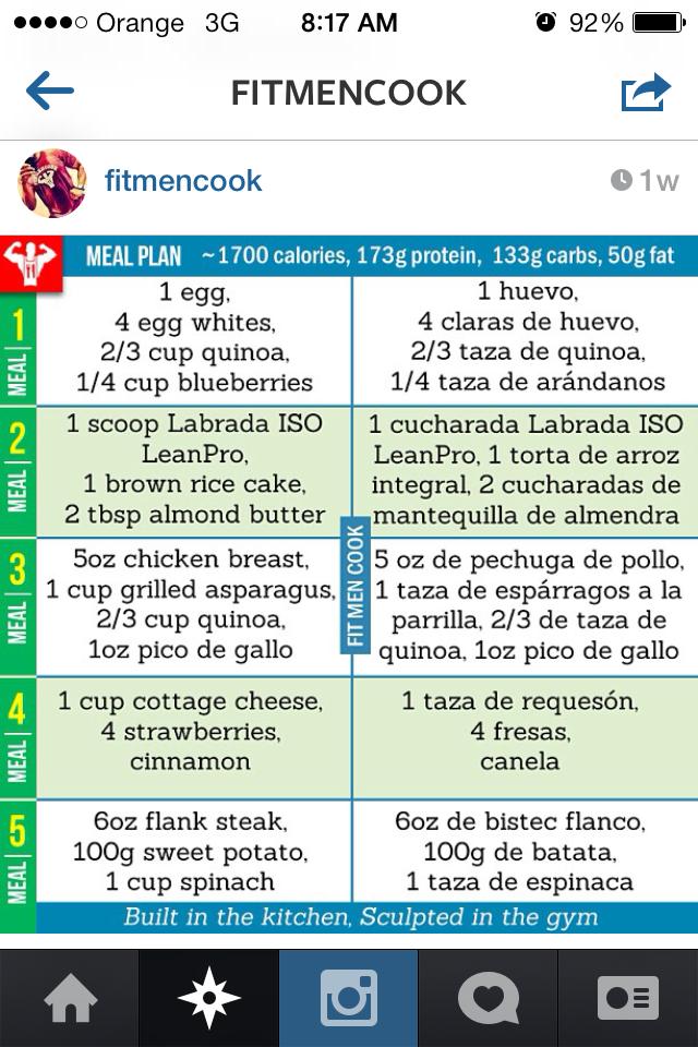 700 Calories A Day : calories, 1,700, Calorie, Mealplan, Instagram/fitmencook, Meals,, Better,, Healthy, Choices