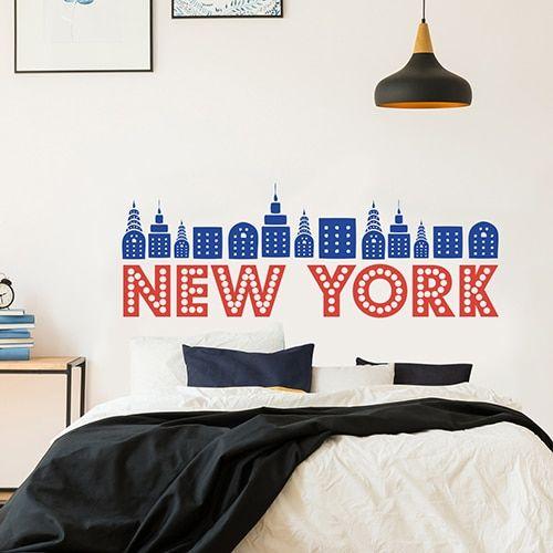 Tete De Lit New York Pour Globe Trotter Decoration Urban Chic De La Chambre D Ado Ou De La Cha Sticker Tete De Lit Tete De Lit New York Decoration Urban