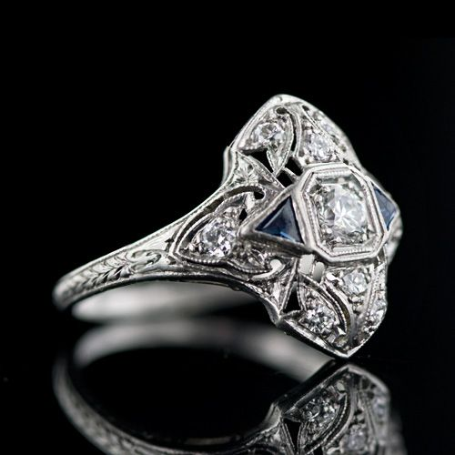 Art Deco Diamond Dinner Ring Art Deco Jewelry Art Deco Diamond Antique Engagement Rings Vintage Art Deco Jewelry