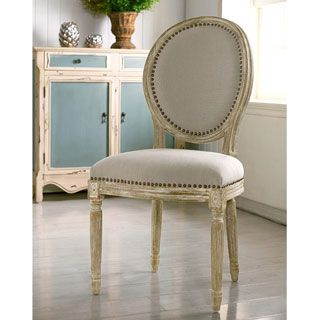 King Louis Side Chair Round Back Tufted French Brown Cotton