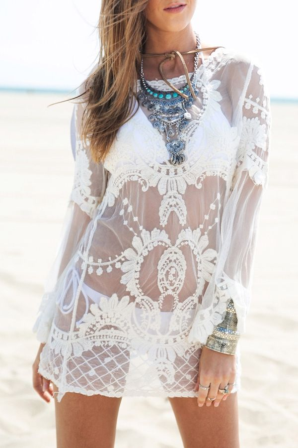 30fe76e7a0 Off-White Lace Long Sleeve Cover Up. Boho chic bohemian boho style hippy ...