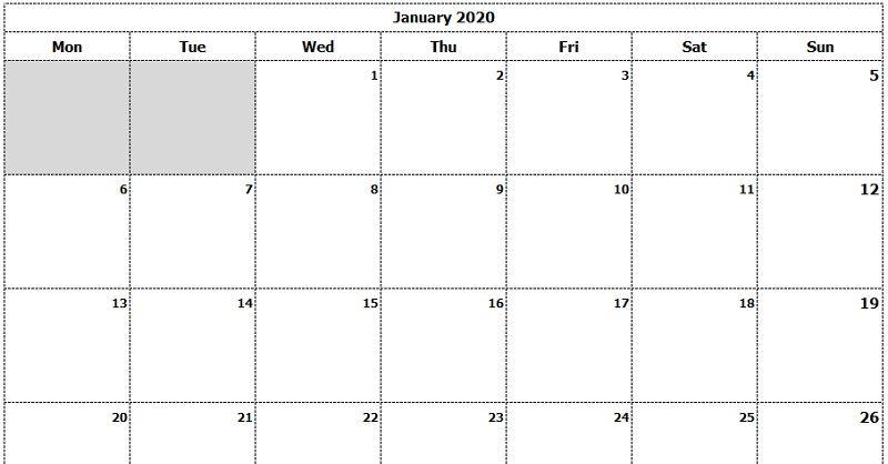 Download 2020 Monthly Calendar Sun Start Ink Saver Excel