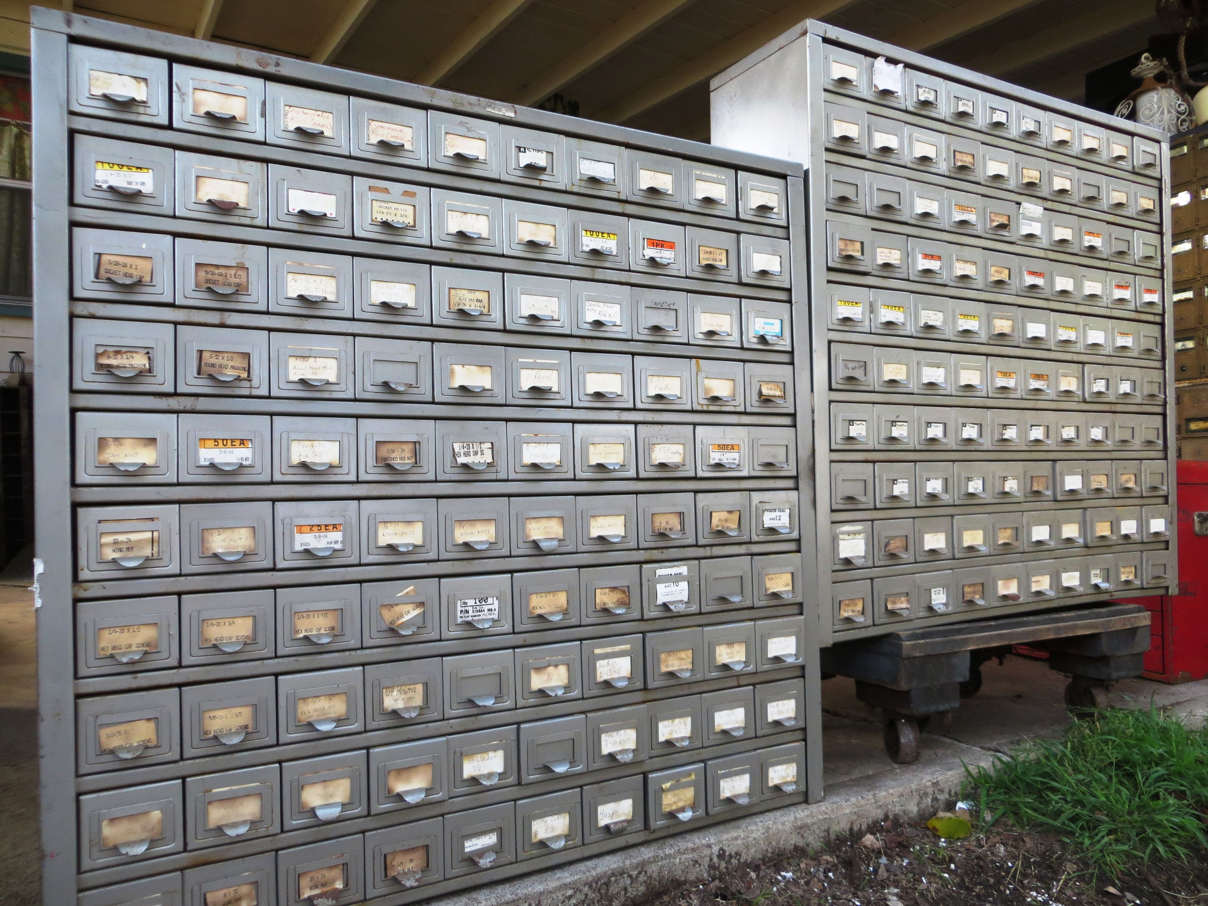 Pair Of 100 Drawer Steel Hardware Organizer Cabinets By Merlesvintage Hardware Organizer Cabinets Organization Steel Hardware