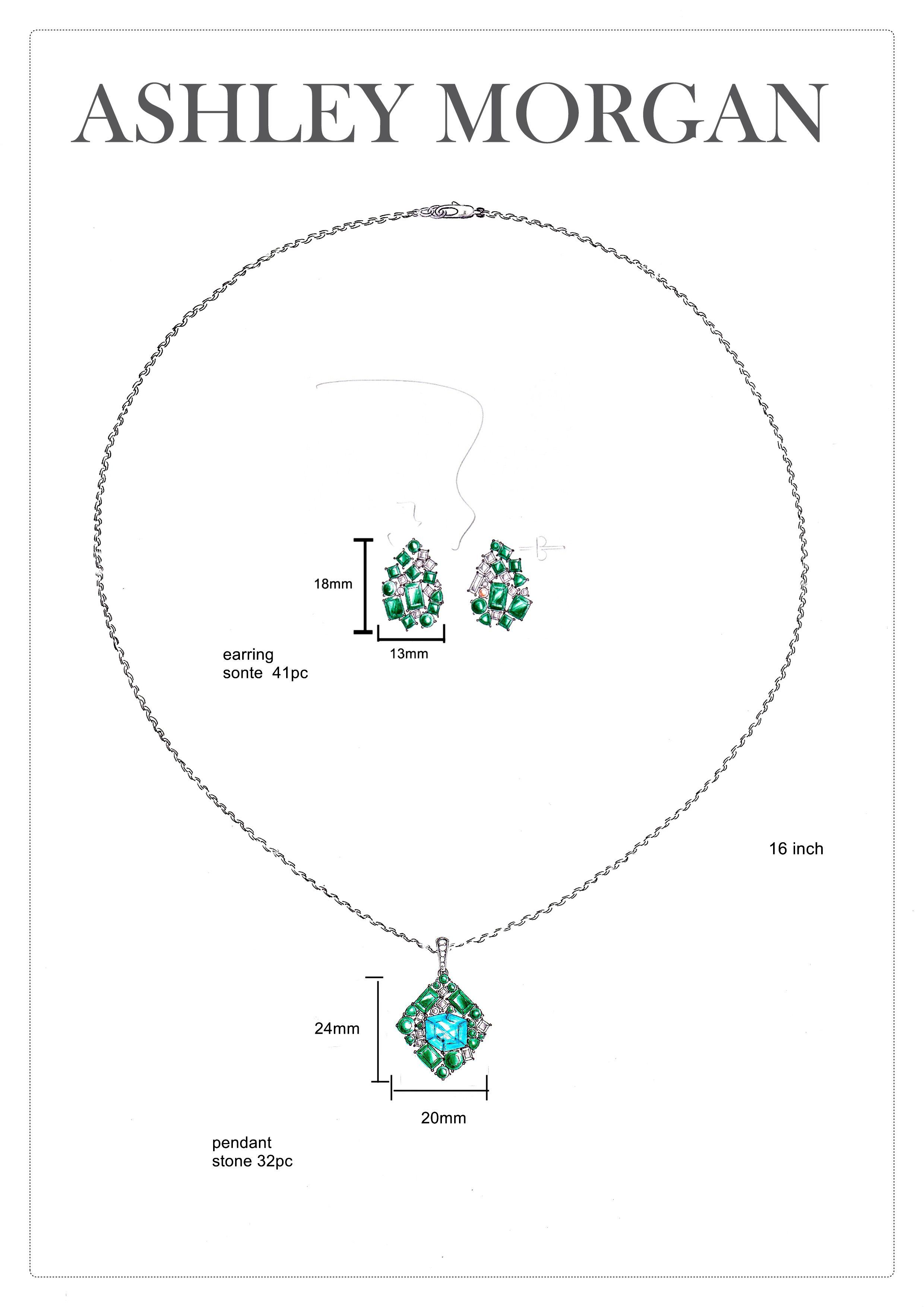 Ashley Morgan Emerald Tourmaline And Aqua Cluster Pendant