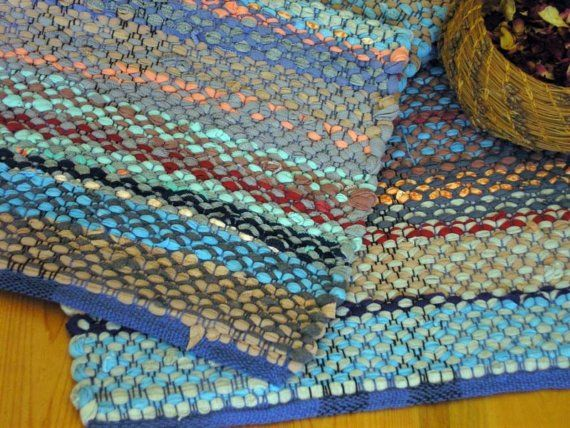 Table Runner Or Narrow Rag Rug Handwoven Recycled Knit, $120. 100% Cotton  Hand