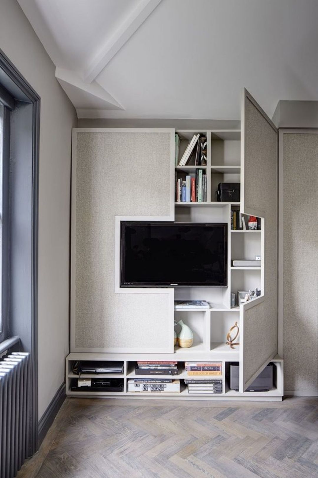 Storage For Small Space 25 Onechitecture Small Apartment Interior Apartment Interior Design Living Room Tv Wall