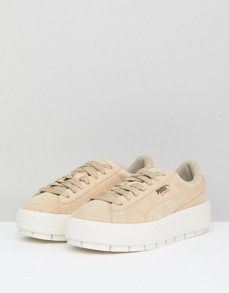 21496924c0e8 Puma Platform Trace Sneakers In Sand With Contrast Sole - Beige ...