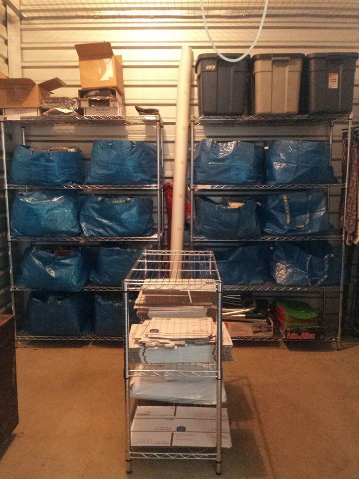 2 shelving units and ikea bags. Looks like I have plenty
