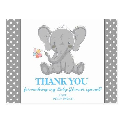 Elephant baby shower thank you note polka dots postcard baby elephant baby shower thank you note polka dots postcard baby gifts child new born gift negle Image collections