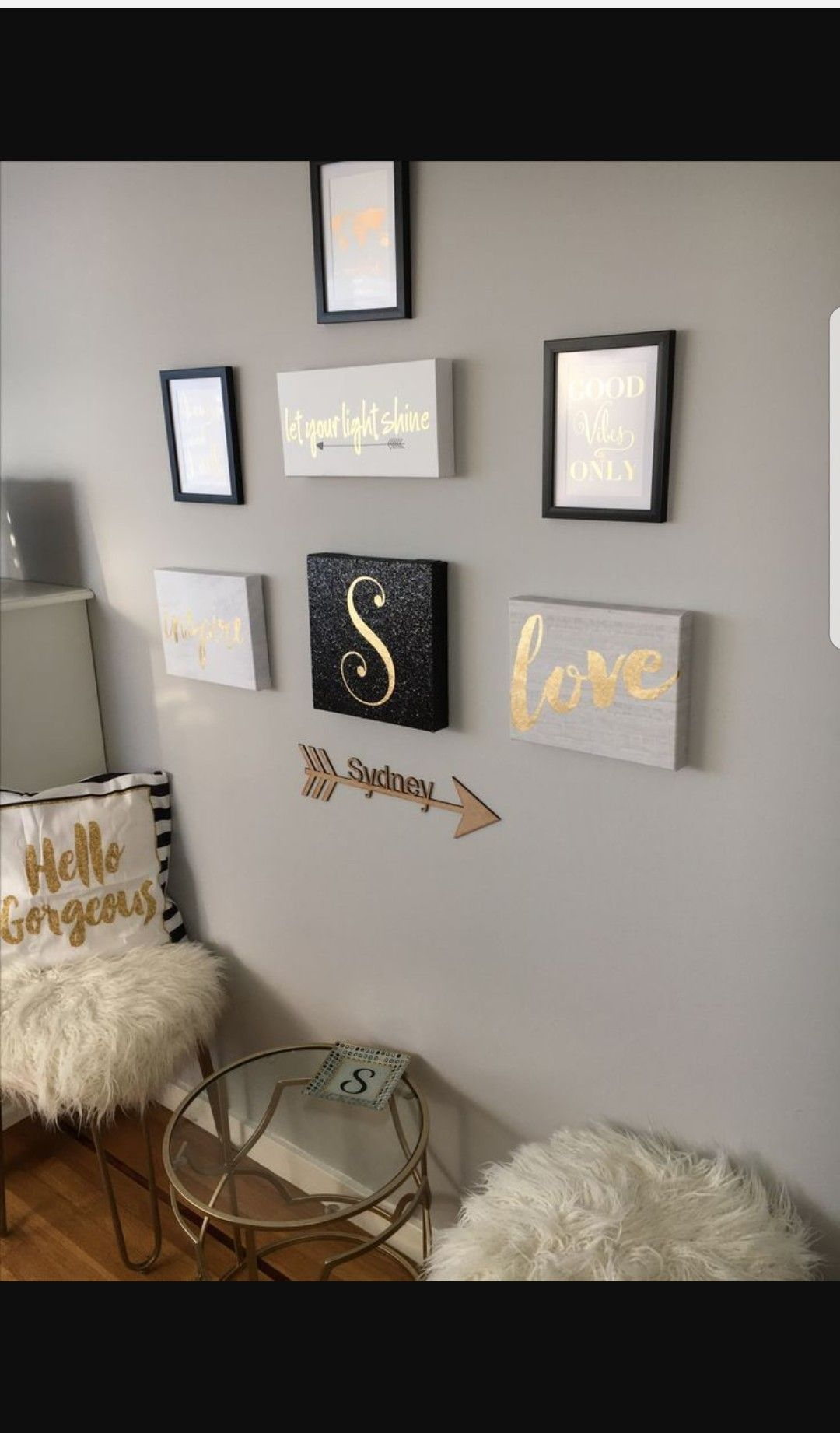 Cute wall art and notes for the hallway walkway lounge areas