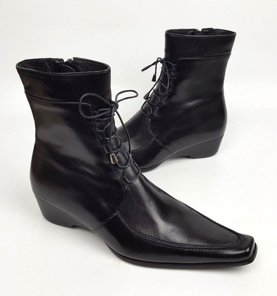 d91a01338 Shana boots 6 to 6.5 EU 36 black Italian leather elongated toe lace-up  detail #Shana #MidCalfBoots