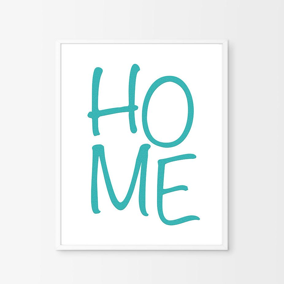 Blue wall print turquoise home sign blue wall art printable wall