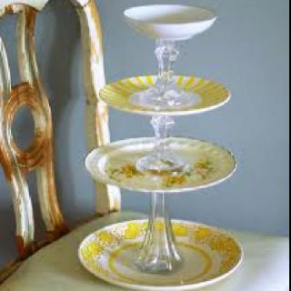 DIY Cake stand get plates candle stick and flower vases from Goodwill or Dollar Store. & DIY Cupcake Stand for Displaying Items   Cupcake tier Cupcake ...