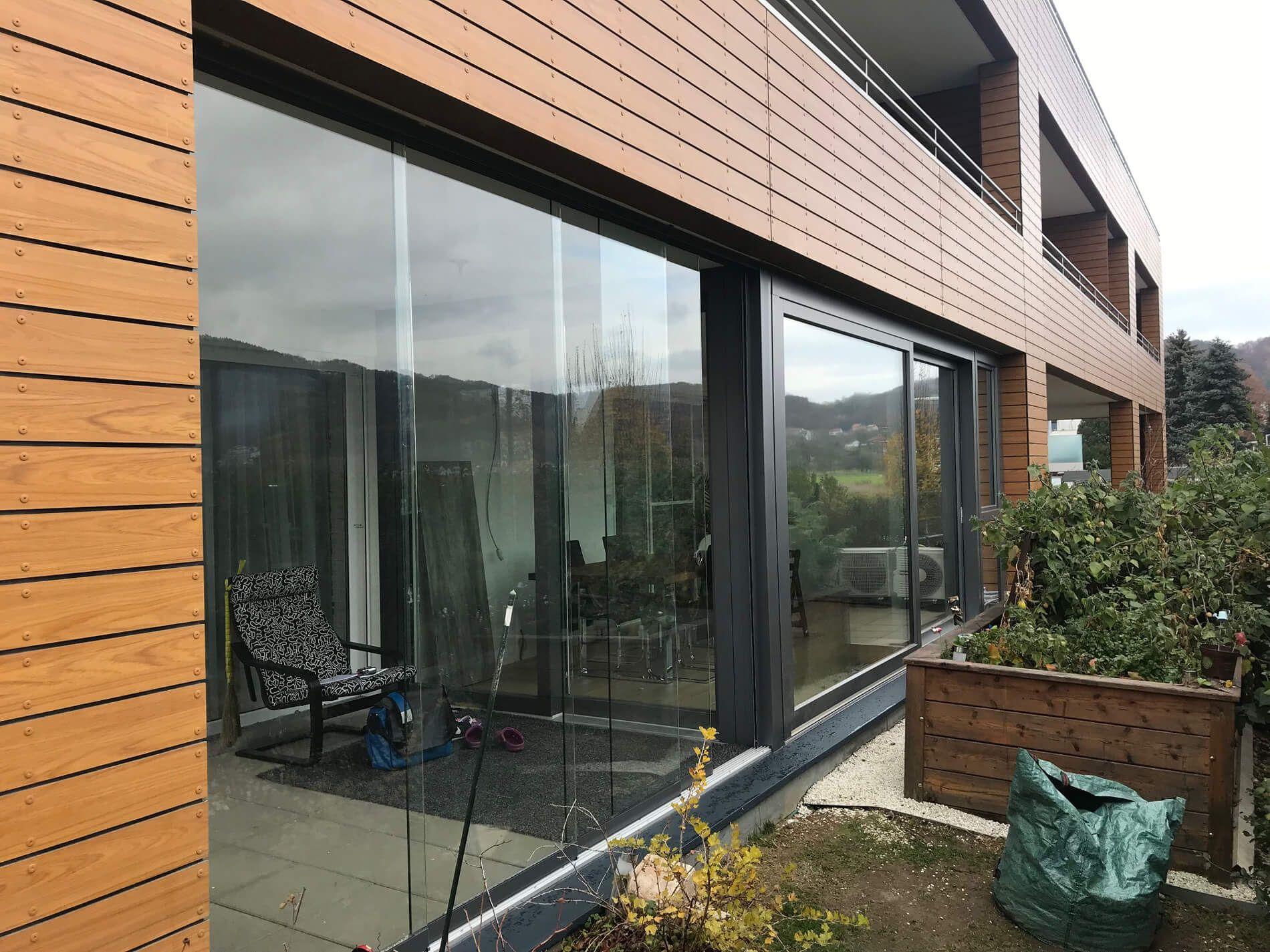 Terrassenverbau Schiebbar Terrassenverglasung Glasschiebetur