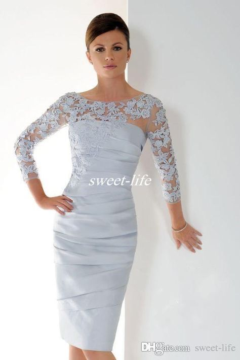 Graceful Silver Short Mother Of The Bride Dresses With 3/4 Sleeves ...