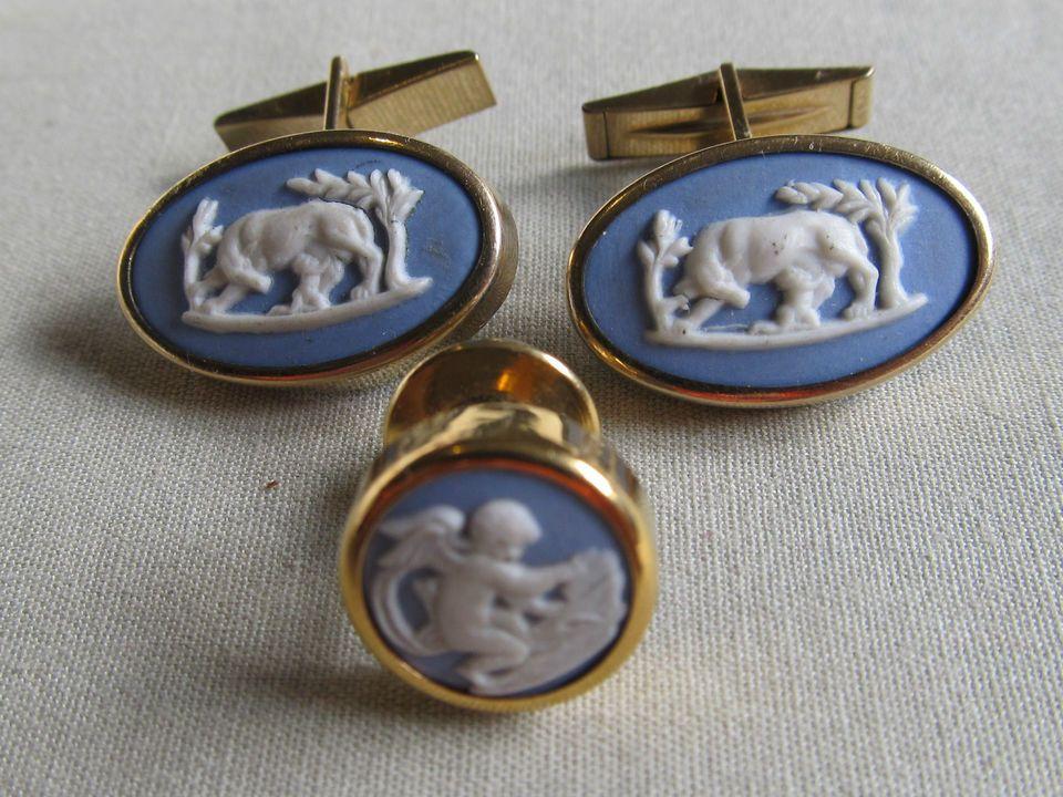 Men Vintage RAINBOW Gold Filled WEDGEWOOD CUFFLINKS Costume Jewelry Accessory