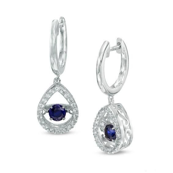 Zales Princess-Cut Blue Topaz and Lab-Created White Sapphire Hoop Earrings in Sterling Silver yIIX0HWJV