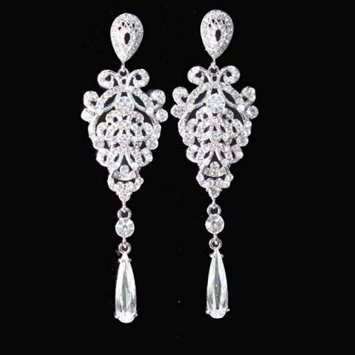 "4"" White Chandelier Dangle Earrings Vintage Style Wedding Made w Swarovki Cryst 
