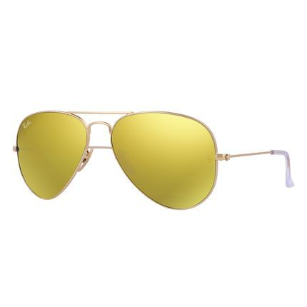 22ebfcde1c4f3 Óculos De Sol Ray-Ban Aviator Lentes Espelhadas RB3025 Ouro - Marca Ray-Ban
