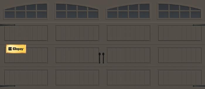 Garage door clopay gallery long panel with arch grilles for Clopay garage door colors