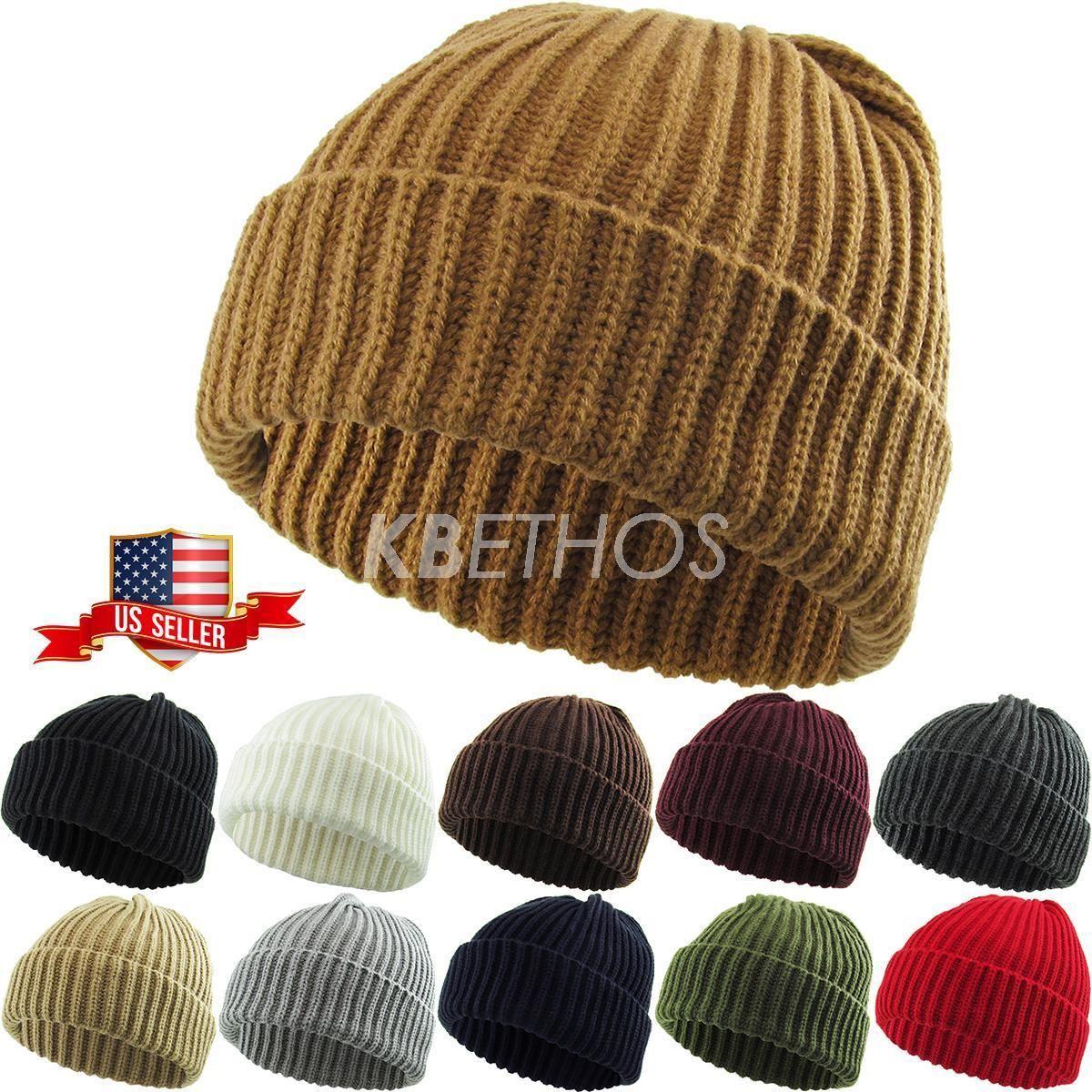 b8da55f34fddc THICK Ribbed Beanie Knit Ski Cap Skull Hat Warm Solid Color Winter Cuff  Blank