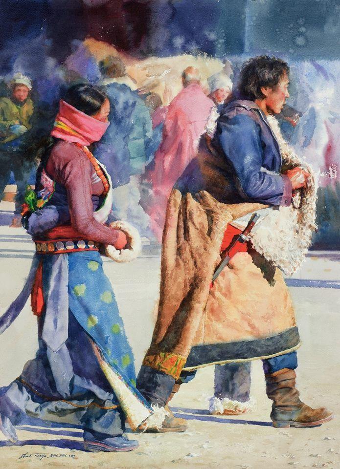 Watercolor by Zhou Tianya