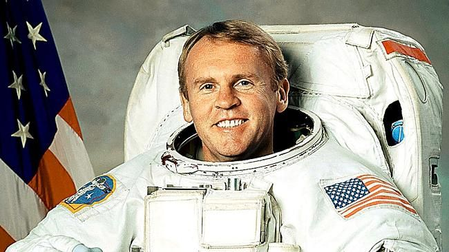 Astronaut Mission Specialist Andy Thomas in an undated image released by NASA. His suit is now on display in The South Australian Museum.