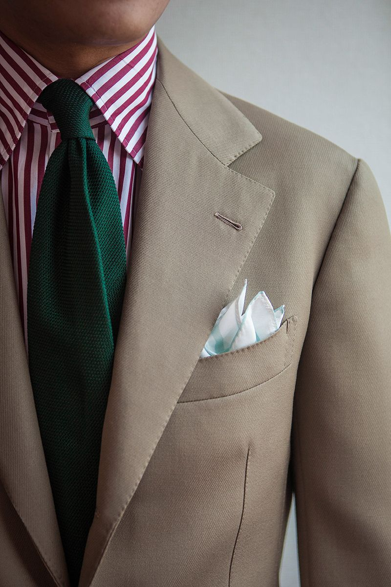 "bntailor: "" Cover coat beige SB suit & Red stripe shirt & Green grenadine tie & New pocket square by B&TAILOR """