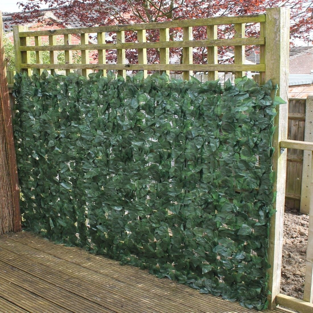 Artificial ivy hedge panels on a roll is ideal for disguising x 3 artificial screening ivy leaf hedge panels on roll fence x baanklon Choice Image
