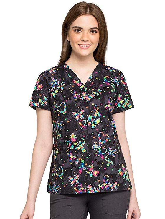 216e3602b7847c Amazon.com: Cherokee Fashion Prints Women's Mock Wrap Scrub Top: Clothing