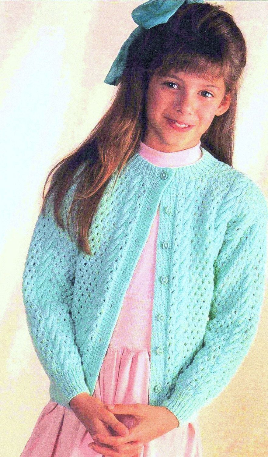 Instant Download PDF Knitting Pattern to make a Girls and Teenage Eyelet Sweater Round Neck 3 Ply Yarn 6 Sizes Ages 4 to 14 years