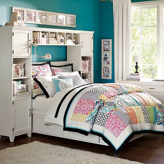 Hampton storage bed bookcase tower set pbteen girl - Teenage girl bedroom furniture ideas ...