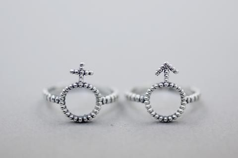 925 Sterling Silver Male And Female Symbol Statement Ring Gender