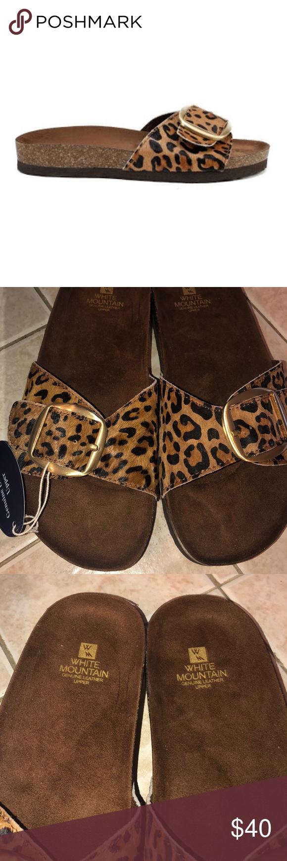 white mountain leopard sandals
