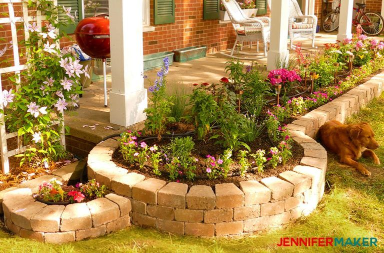 Curved diy retaining wall with flower bed is easy to make