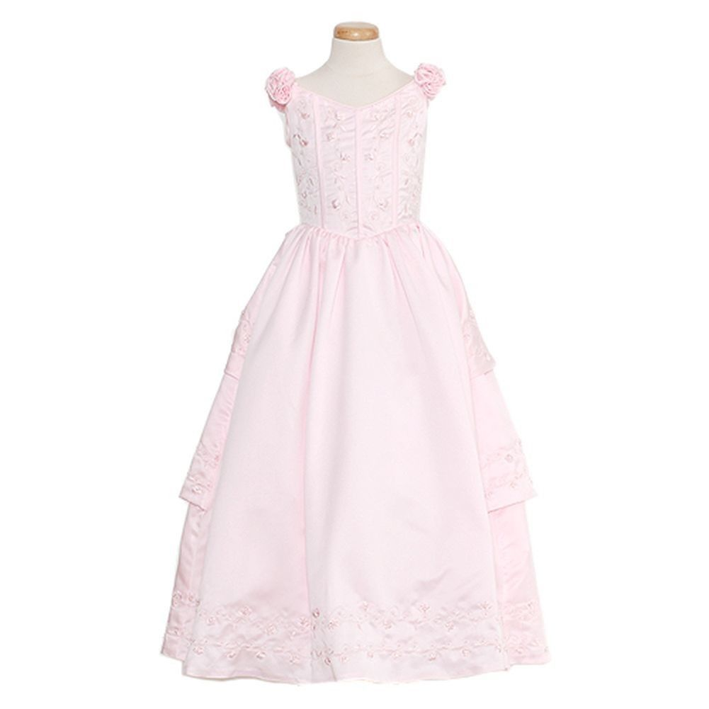 Awesome amazing rain kids pink bridal satin adj corset dress plus