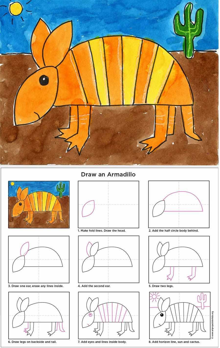 How to Draw an Armadillo (Art Projects for Kids) Animal