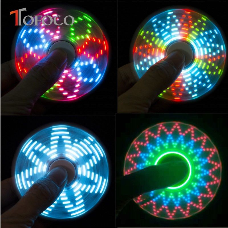 TOFOCO New Light Fid Spinner Led Stress Hand Spinners Glow In The