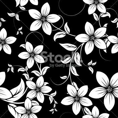 Black White Floral Pattern Wallpaper White Flower Tattoos