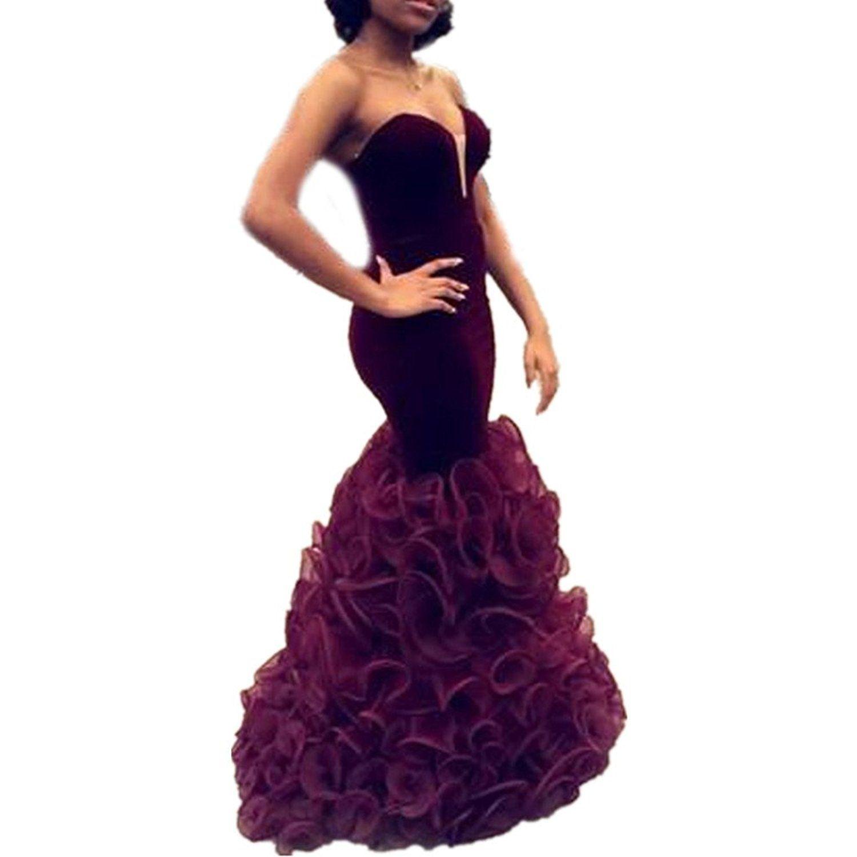 Drehouse womenus velvet sweetheart mermaid prom dresses pleats