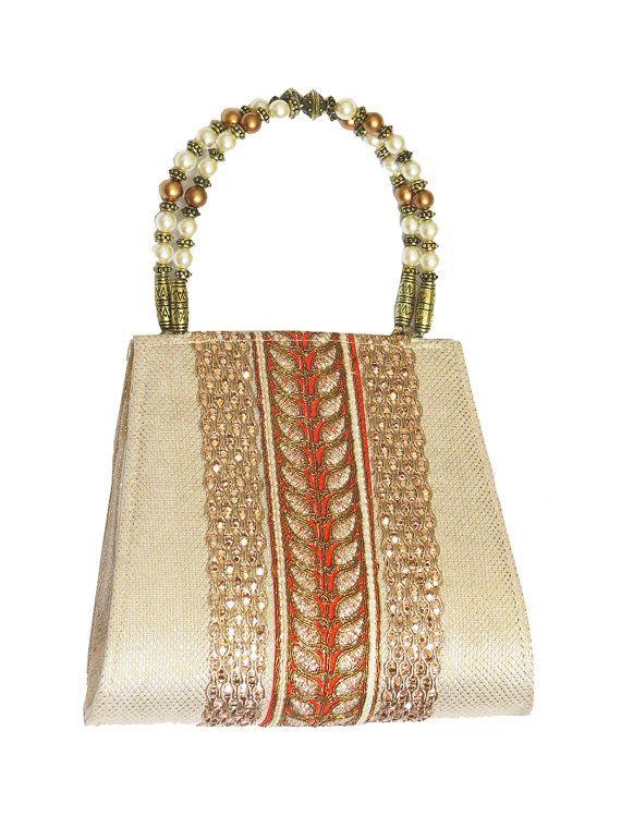 Beige Champange GOLD orange color CLUTCH BAG, beaded handle, shimmer, laces applique, vintage embellished evening clutch bag