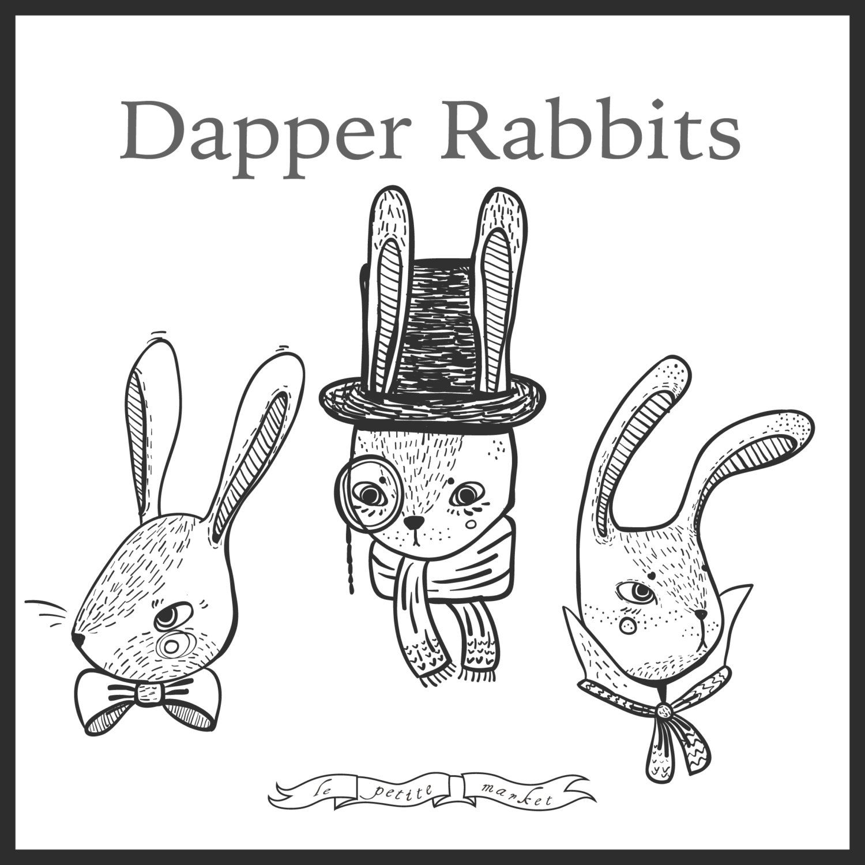 Cute Dapper Rabbit Illustrated Clipart Bunny Clipart