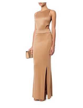 Jonathan Simkhai Cut Out Viscose Gown: Nude