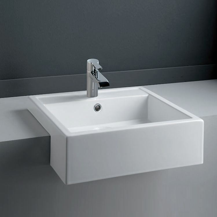 Rak Nova 46cm Semi Recessed Basin 1 Tap Hole Novasr At Victorian Plumbing Uk Semi Recessed Basin Small Shower Room Bathroom Sink Taps