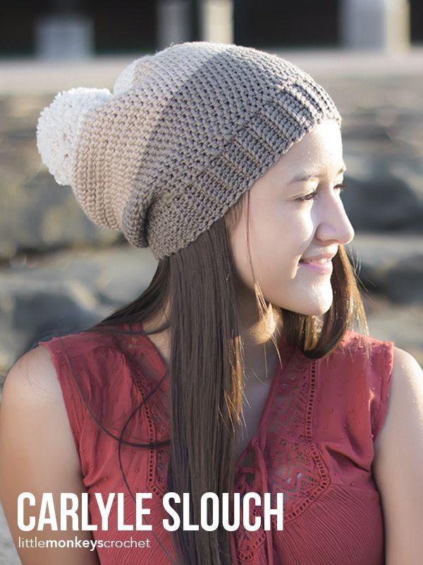 Carlyle Slouch Hat Crochet Pattern | Free pom pom slouchy hat ...