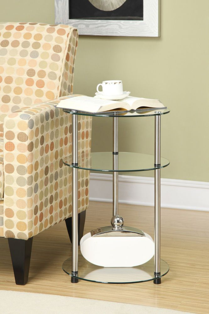 Tiered Side Table Modern Furniture Design 3 Shelf Round Glass Shelves End Tables Convenienceconc Glass Accent Tables Round Glass Table Furniture Design Modern